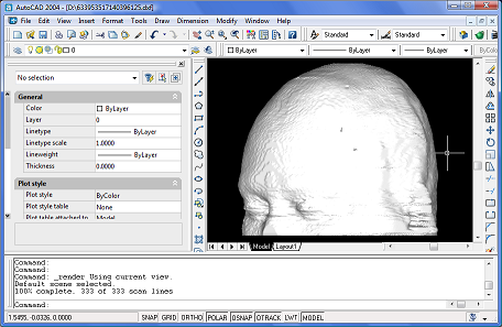 Exported and rendered head in AutoCAD 2004